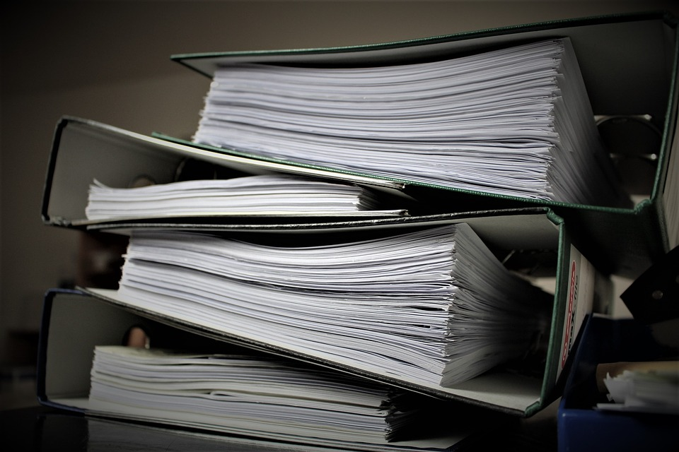 Binders filled with professional papers