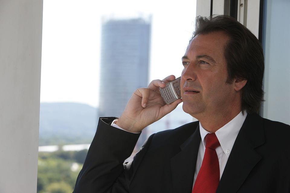 A business man on a phone call