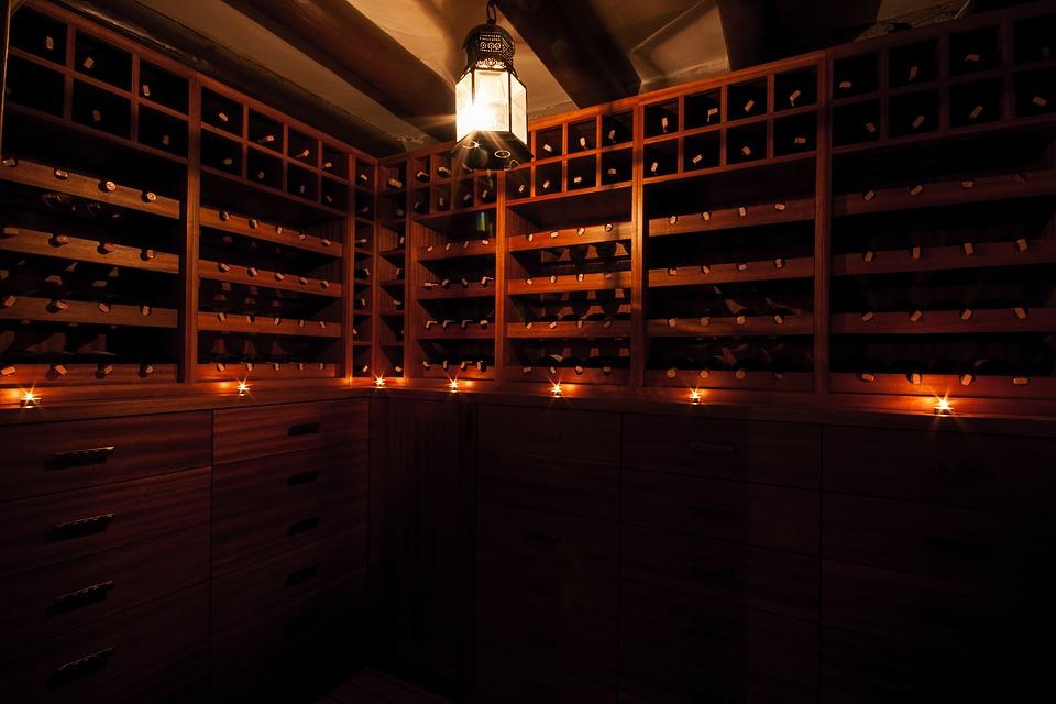 A dimly lit wine cellar