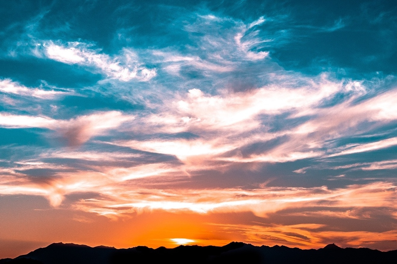 Vibrant sunset over the mountains