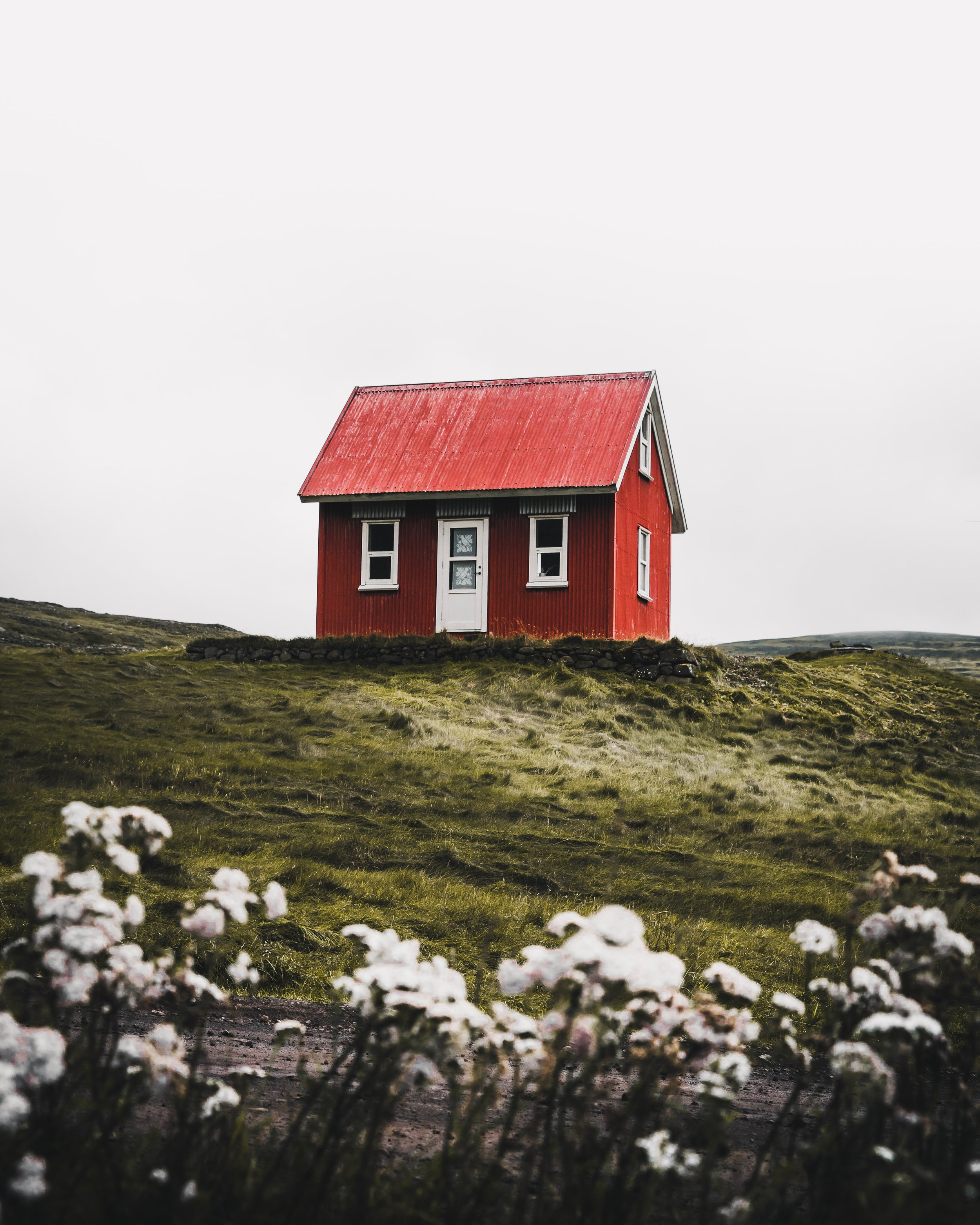 Tiny red house in a scenic green grassy field