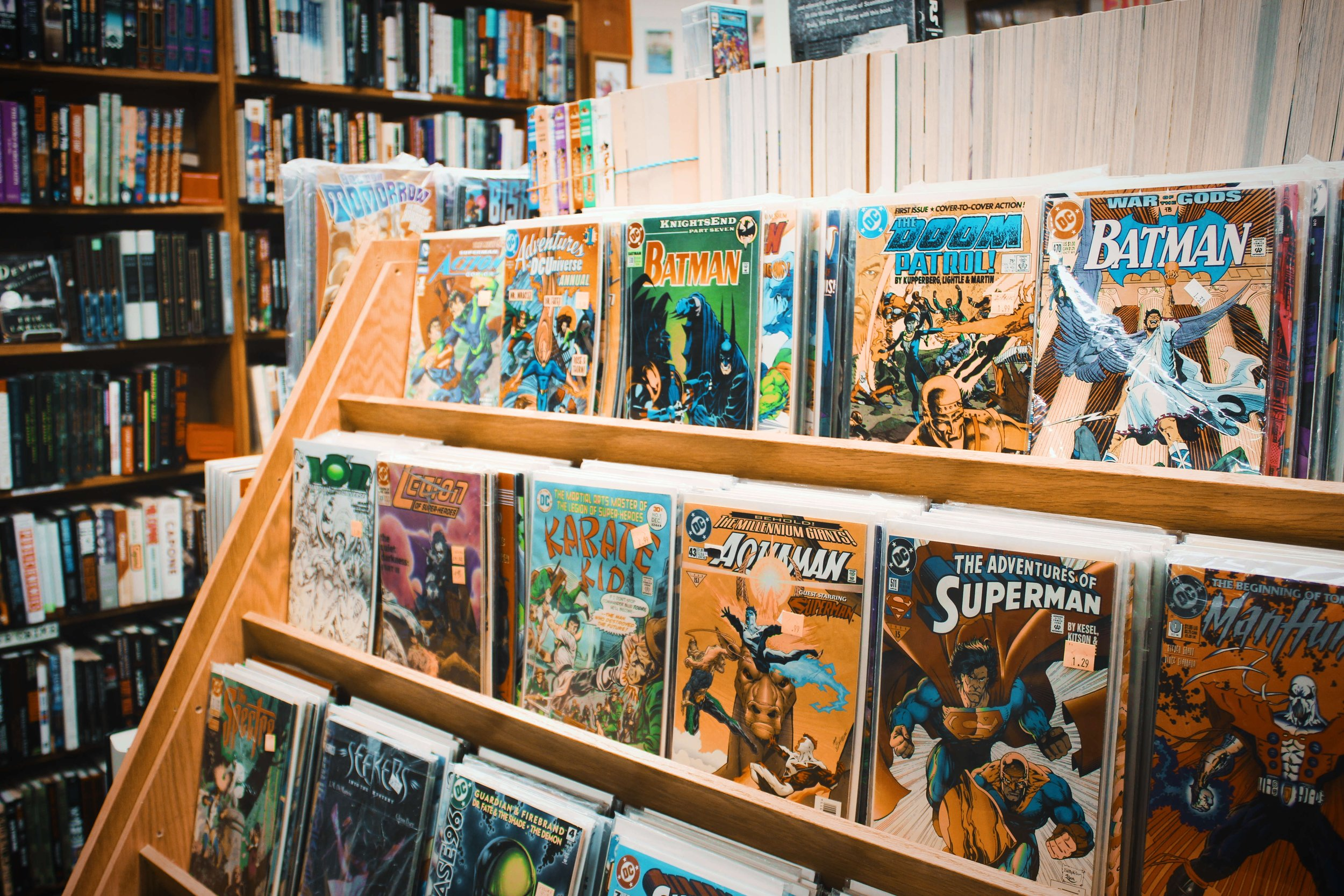 Shelves of comic books in perfect condition