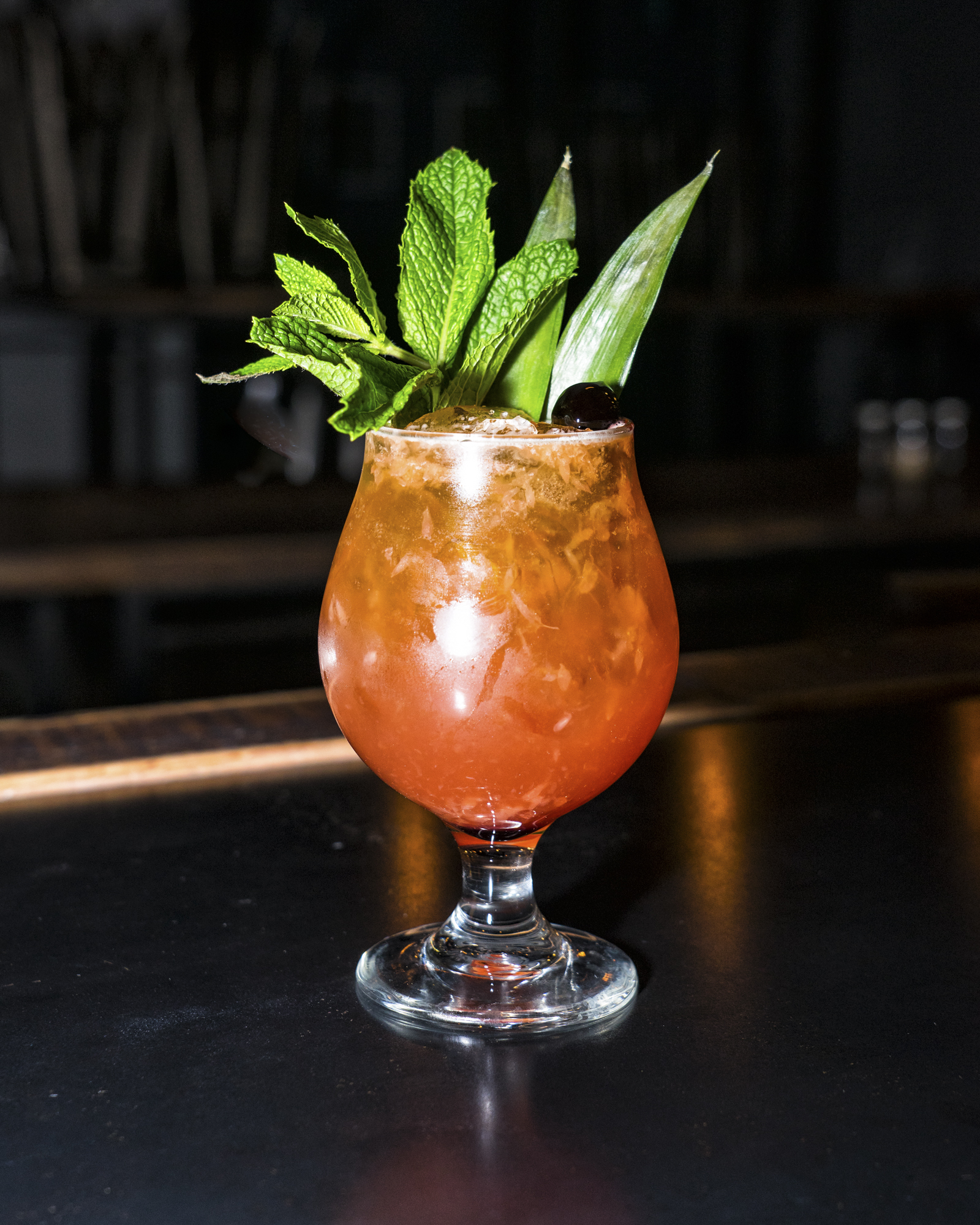 Tikisaurus Beer Cocktail - -½ oz of Agave-½ oz of Lime Juice-½ oz of Grapefruit Juice-¾ oz of Hibiscus Falernum-1 ½ oz of Aquavit-½ oz of Plantation Pineapple Rum-Splash of Opposable IPA1. Build your cocktail out in a shaker except for Opposable IPA2. Give it all a light shake3. Sugar the rim of your serving glass4. Pour contents of your shaker into your serving glass5. Top cocktail with a splash of Opposable IPA6. Garnish with whatever you'd like (we like a Pineapple Stave and a sprig of Mint)7. Serve and sip this delicious beer cocktail