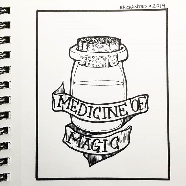 #inktober2019 day 7 #enchanted . . I couldn't not think of Zelda when this prompt came up. Medicine of magic is super embedded in my mind since I decided to play #alinktothepast after finishing the Link's Awakening reboot. . . #zelda #ink #tattoo #bottle #potion #illustration #magic