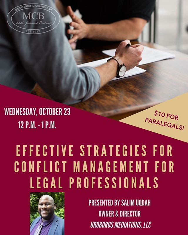 Hey legal professionals, are you in need of CLEs? Join us for a one-hour credit about conflict resolution strategies hosted by Salim Uqdah. It is a great way to commemorate Paralegal Day, and it will $10 for paralegals. We hope to see you there! #continuingeducation #cle #paralegals #conflictresolution #legalprofessionals