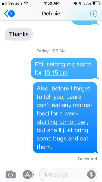 The tx t that my friend sent to her parents before dinner