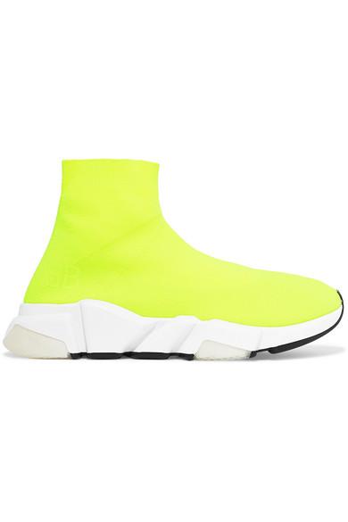 Balenciaga neon knit sneakers stylemigrator