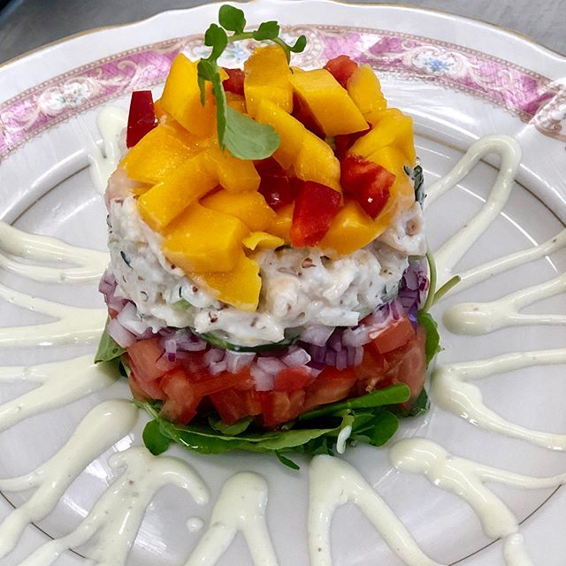 Special this week! Holding on to great weather with a summer timbale! Crab, shrimp, mango, citrus crème fraîche.  #hold-on #timbales #rva #rvafood. #rvafoodie #chezday #chezway