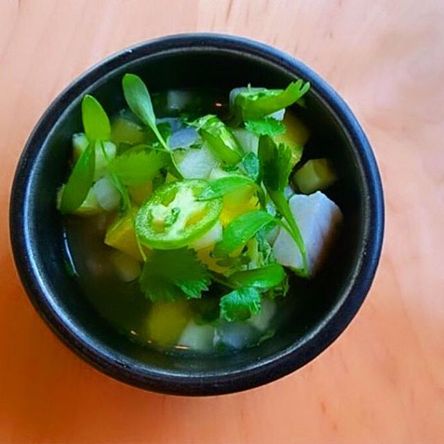 aguachile de mar ::: caribbean sunfish, serrano, cucumber water, mint, golden watermelon