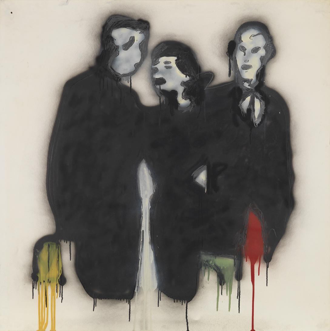 Three Figures (Wall Street Week)    1980  graphite, spray enamel and oil-based enamel on paper  42 x 42 in / 106.7 x 106.7 cm
