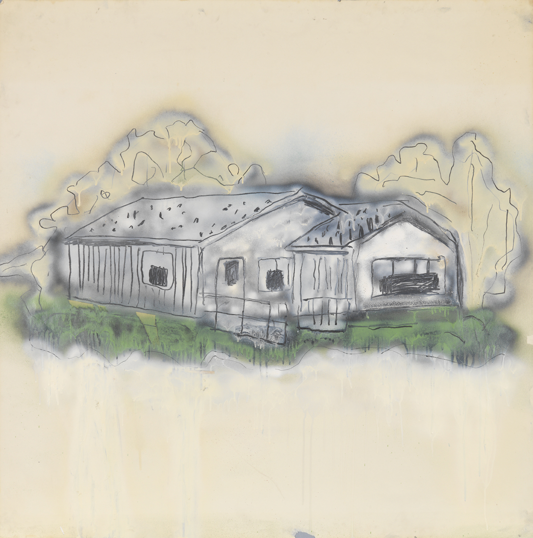 House   1980  graphite, spray enamel and oil-based enamel on paper  42 x 42 in / 106.7 x 106.7 cm