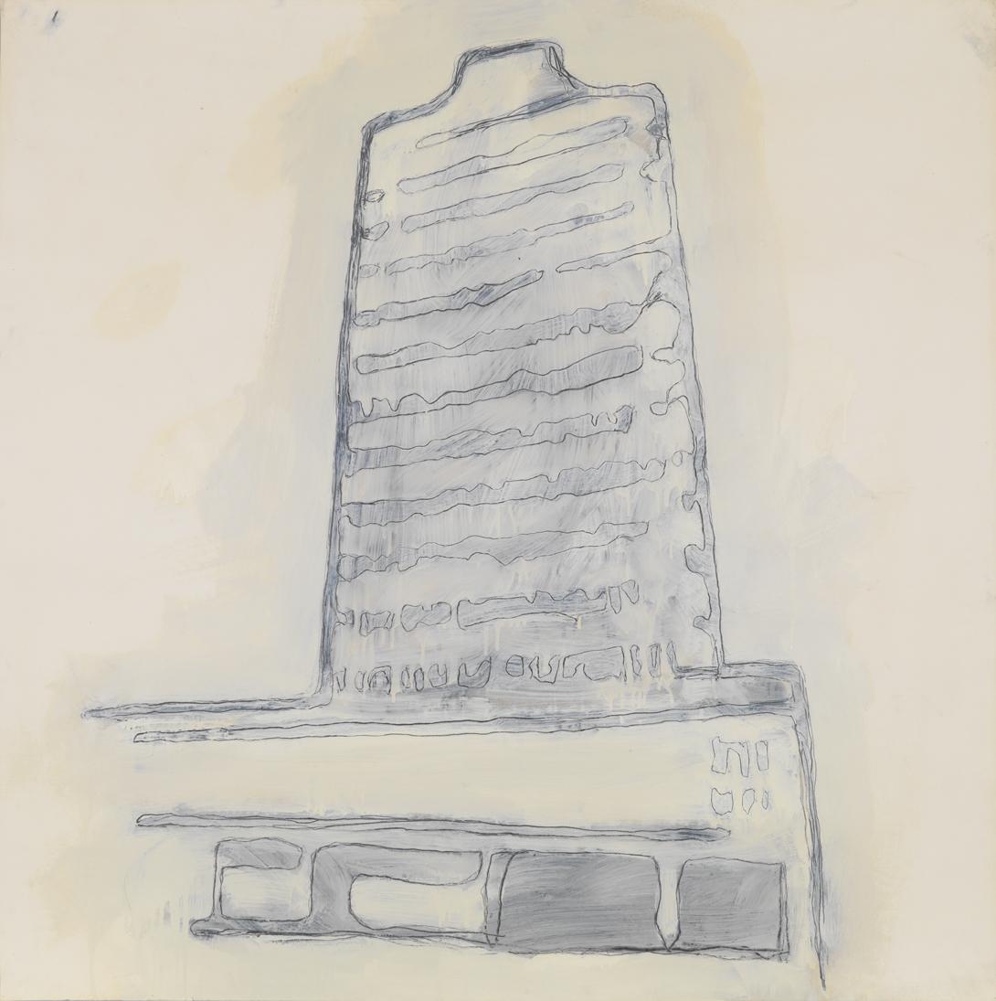 Hotel in Caracas (Resort Group)    1980    graphite, spray enamel and oil-based enamel on paper    42 x 42 in / 106.7 x 106.7 cm