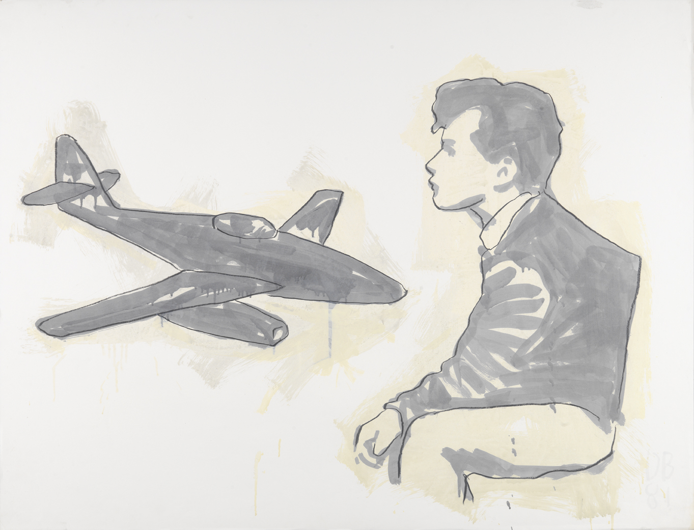 Monotone Drawing With Airplane    1981    graphite, and oil-based enamel on paper    35 x 46 in / 88.9 x 116.8 cm