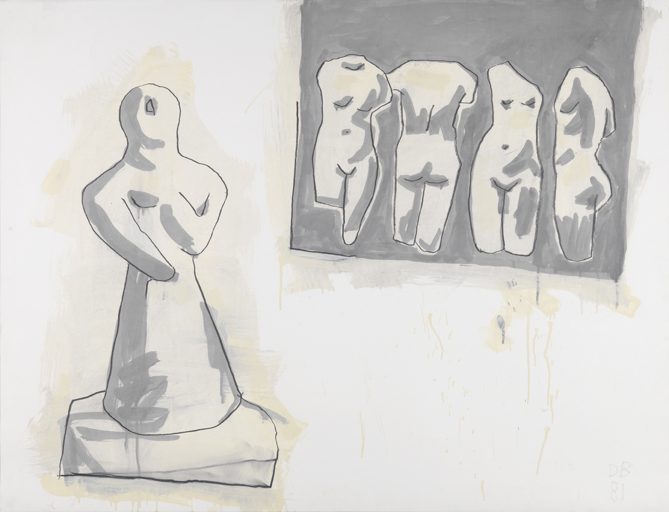 Monotone Drawing   1981  graphite and oil-based enamel on paper  35 x 46 in / 88.9 x 116.8 cm