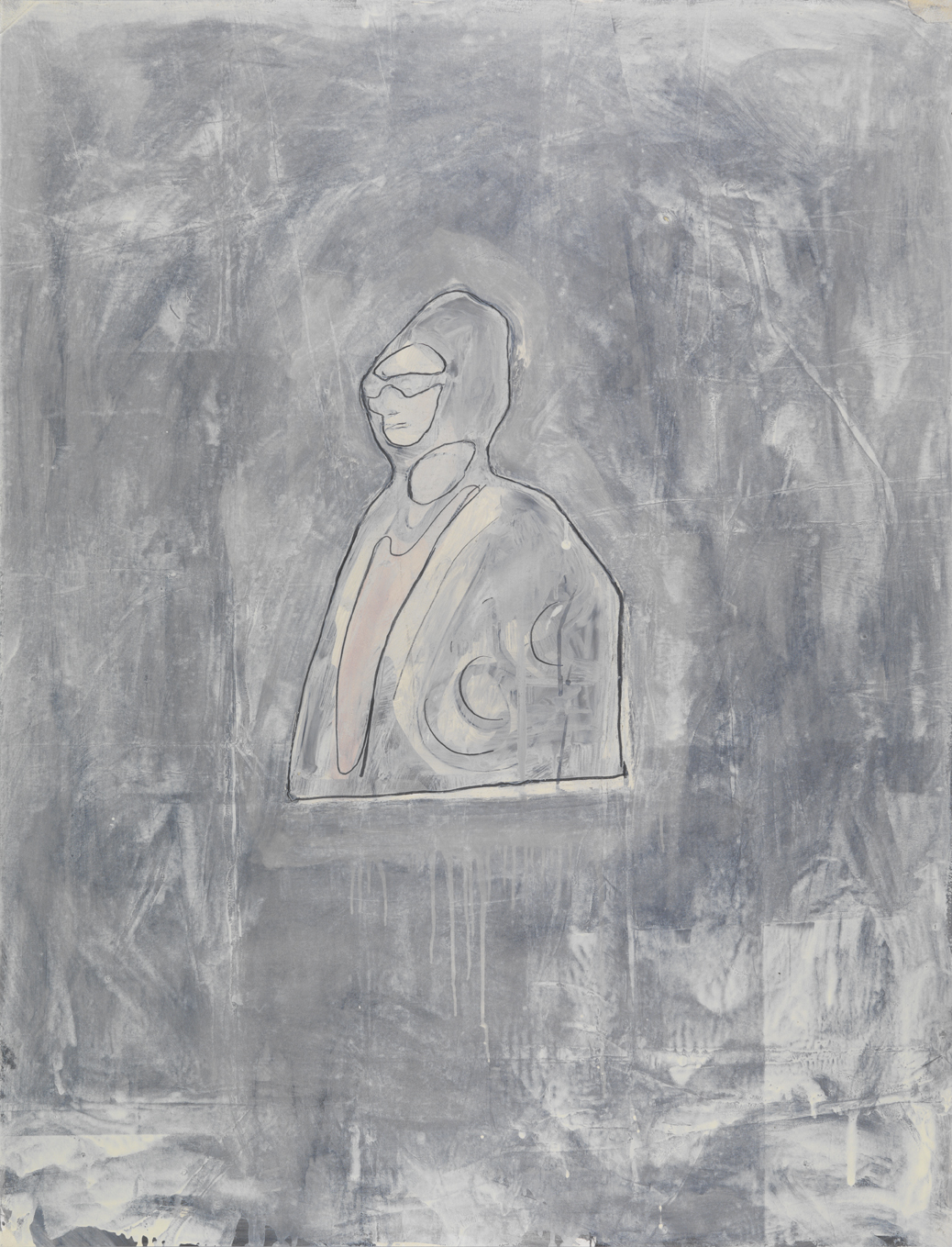 Oum Kalsoum   1981  graphite and oil-based enamel on paper  46 x 35 in / 116.8 x 88.9 cm