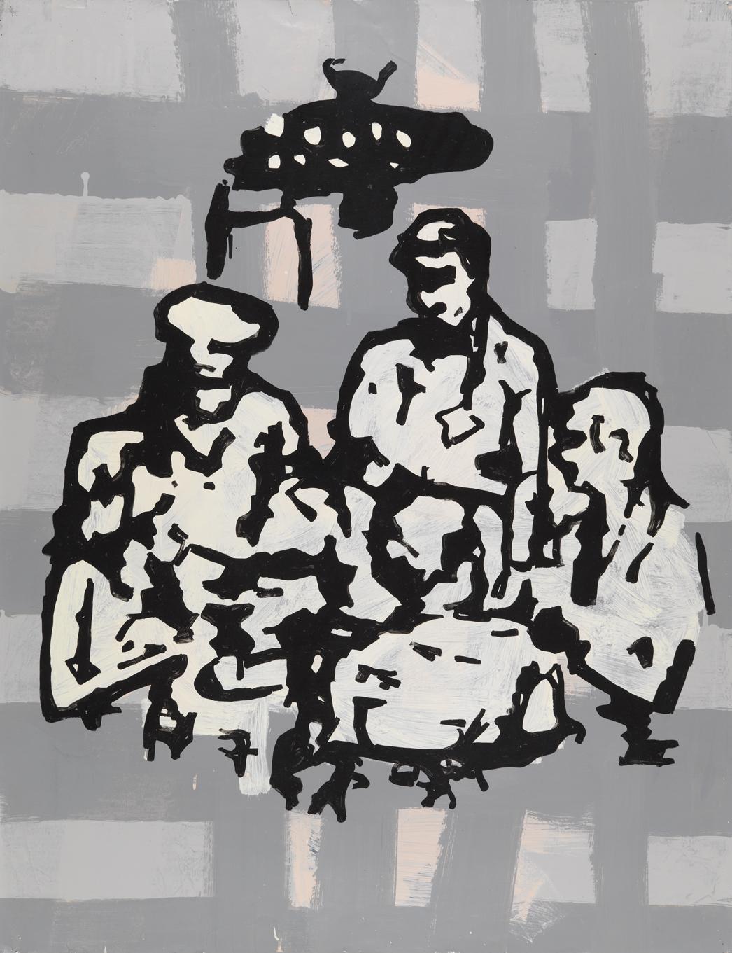 Resort Group (Food) Second Version   1982  oil based enamel on paper  46 x 35 in / 116.8 x 88.9 cm