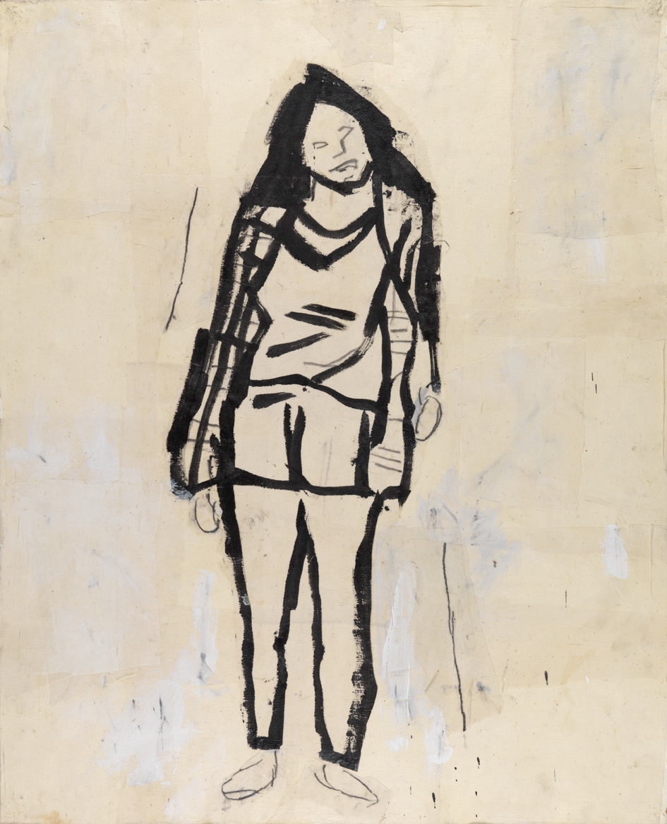 Figure Study (Shelby Creagh)    1982    acrylic, graphite and muslin collage on paper    40 x 32 in / 101.6 x 81.3 cm