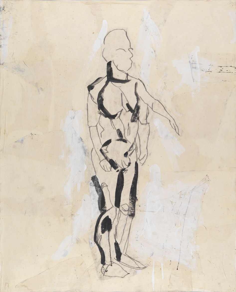 Figure Study #2   1982  acrylic, graphite and muslin collage on paper  40 x 32 in / 101.6 x 81.3 cm