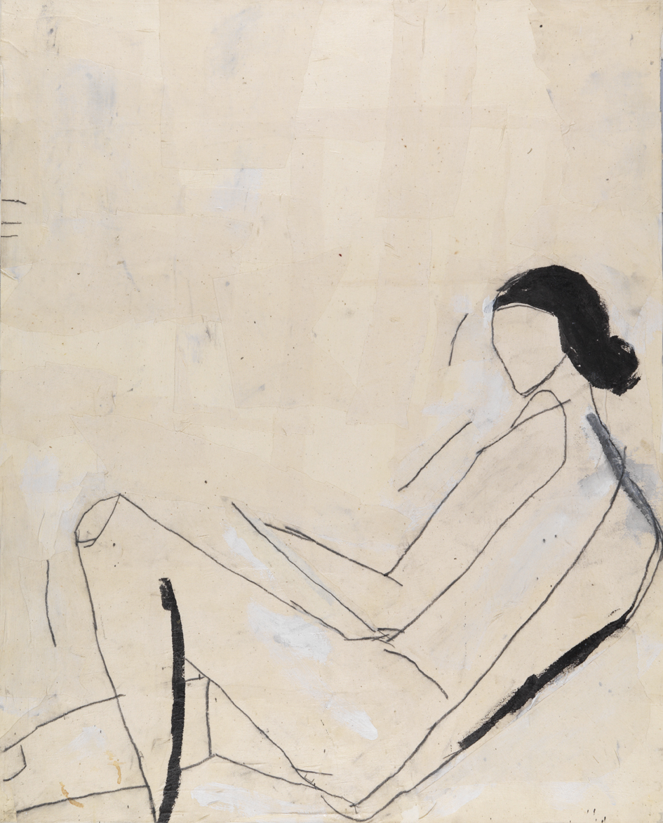 Reclining Nude (After Shelby Creagh)    1982    acrylic, graphite and muslin collage on paper    40 x 32 in / 101.6 x 81.3 cm