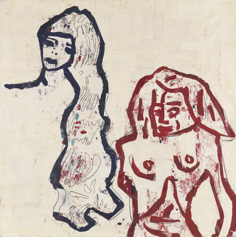 Girl and Bather   1983  acrylic, tempera, graphite and paper collage on paper  36 x 36 in / 91.4 x 91.4 cm