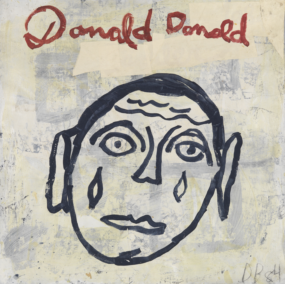 """Donald Donald (Study for """"Victims of Emigrants"""")   1984  acrylic and paper collage on paper  36 x 36 in / 91.4 x 91.4 cm"""
