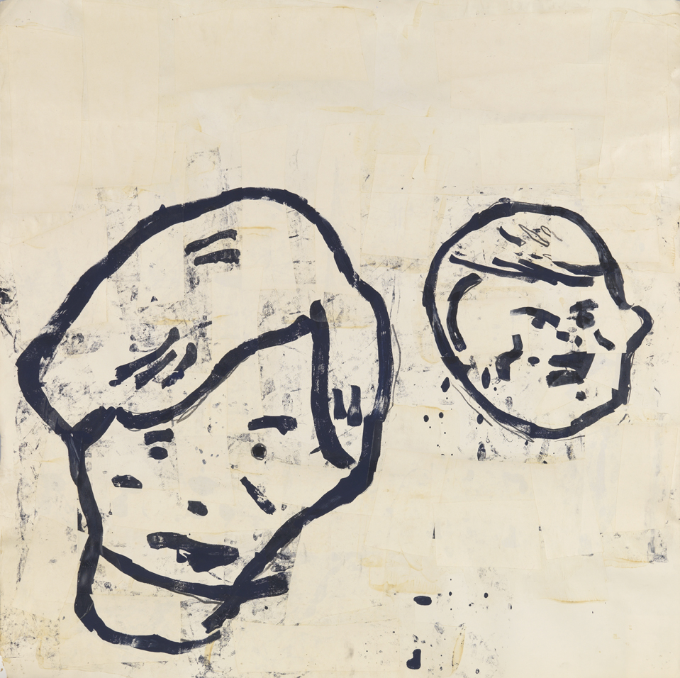 Untitled (2 Boys)   1983  acrylic, tempera, graphite and paper collage on paper  36 x 36 in / 91.4 x 91.4 cm