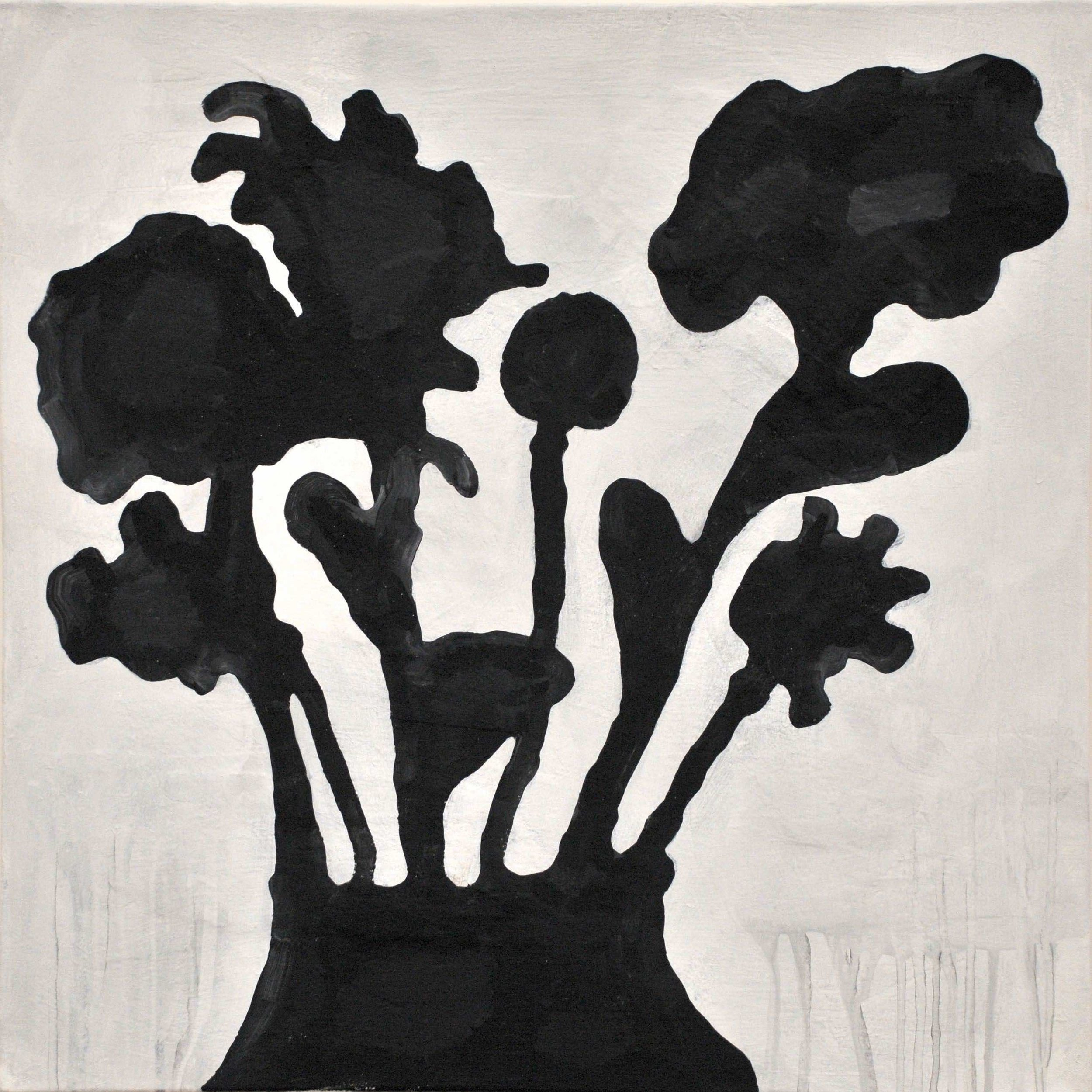 Donald Baechler   Black Flowers   2018  acrylic and fabric collage on canvas  24 x 24 in / 61 x 61 cm