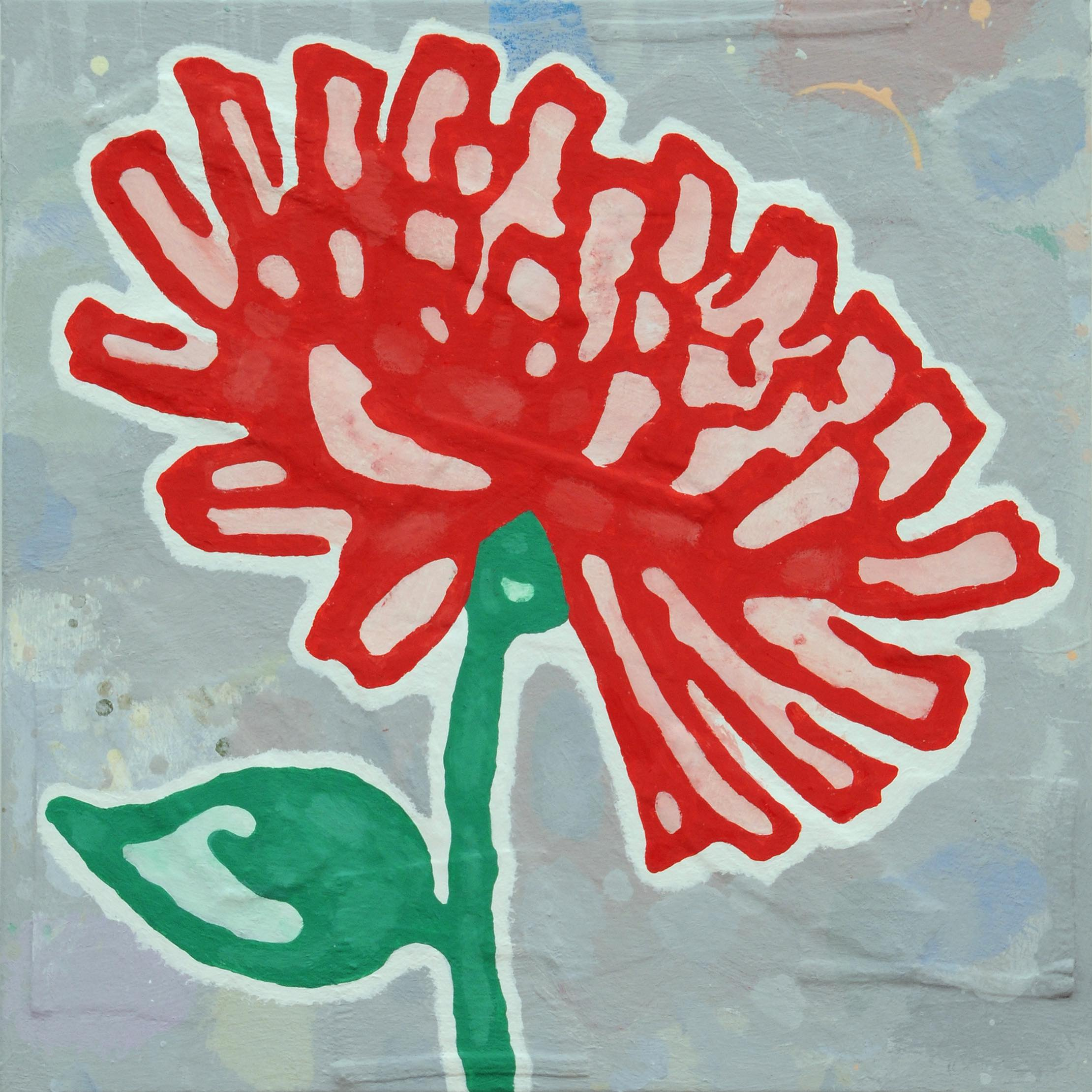 Donald Baechler   Red + Green Flower   2010  acrylic and fabric collage on canvas  24 x 24 in / 61 x 61 cm