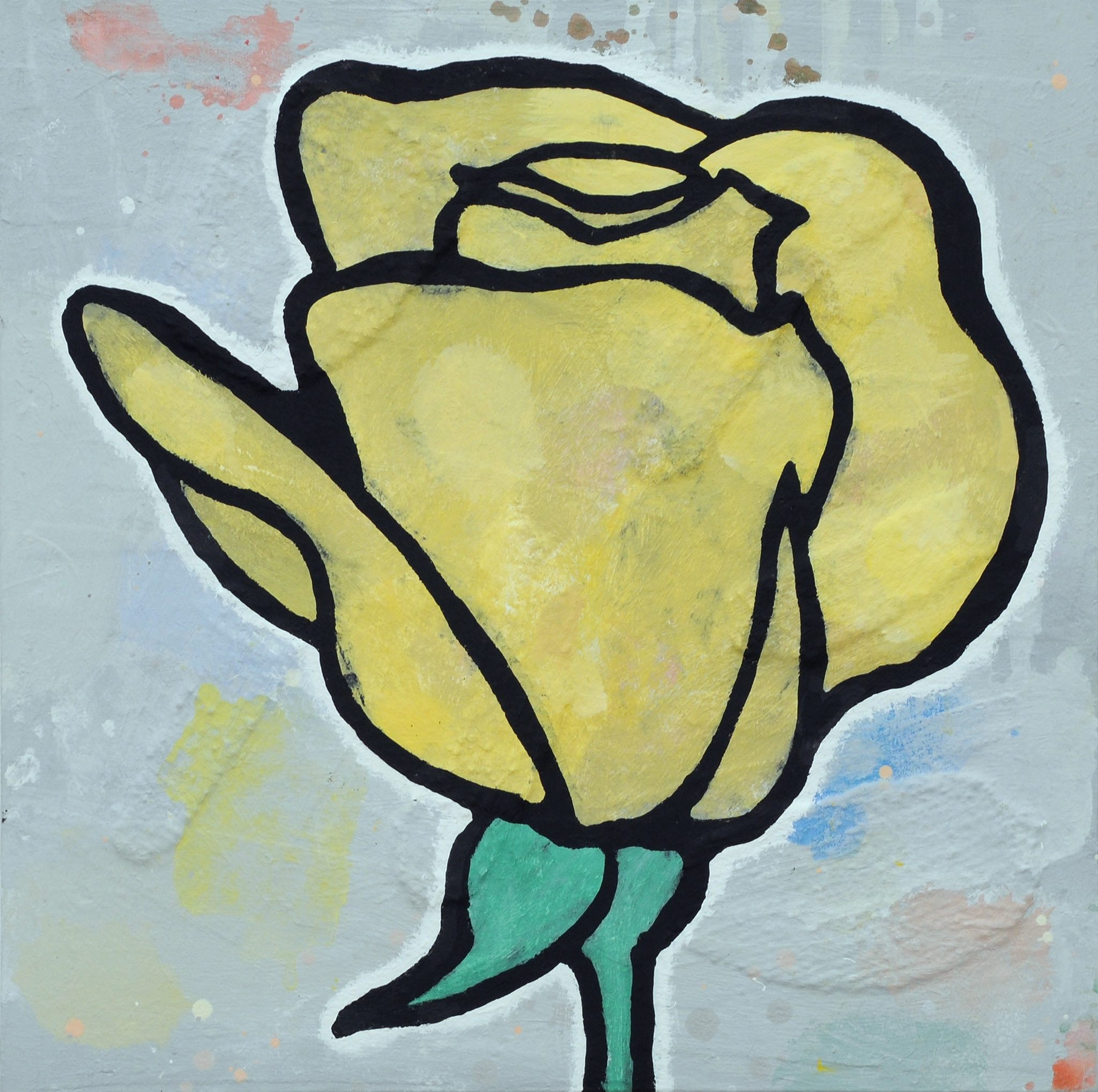Donald Baechler   Yellow Rose   2010  acrylic and fabric collage on canvas  24 x 24 in / 61 x 61 cm