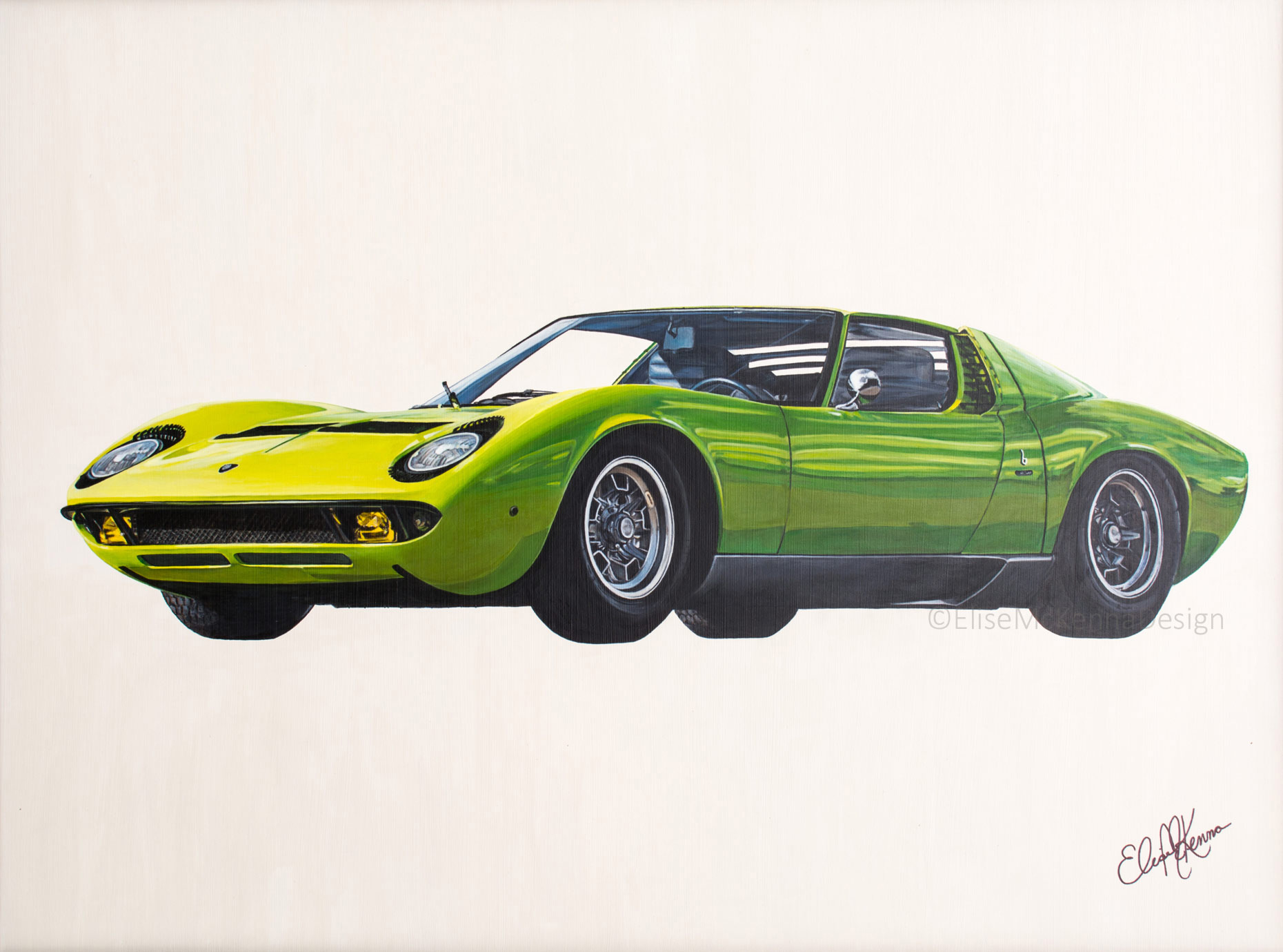 """Lamborghini Miura P400, 1960s, lime green; original: acrylic on aquabord; 18 x 24 x 1/8"""" (not for sale) ; prints available for purchase"""
