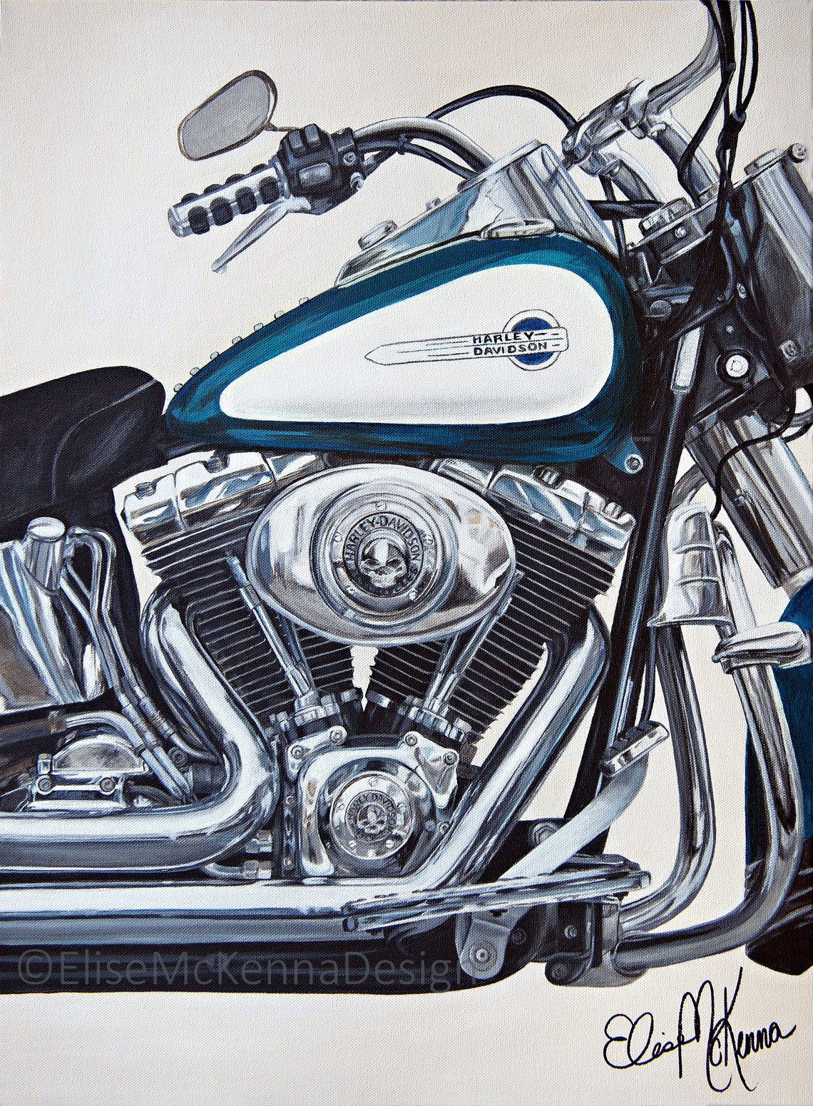 """""""Aqua"""" - a close-up of a Harley-Davidson motorcycle engine   original: acrylic on canvas; 18 x 24 x .5"""" ($1800) ; prints available for purchase"""