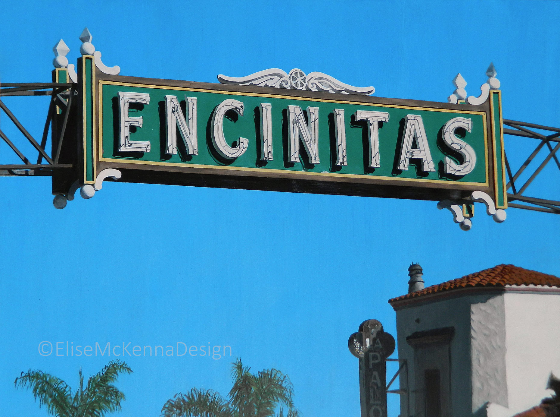 Encinitas;  acrylic on mounted gessobord; 16 x 12 x .5 inches  ($500); prints available for purchase
