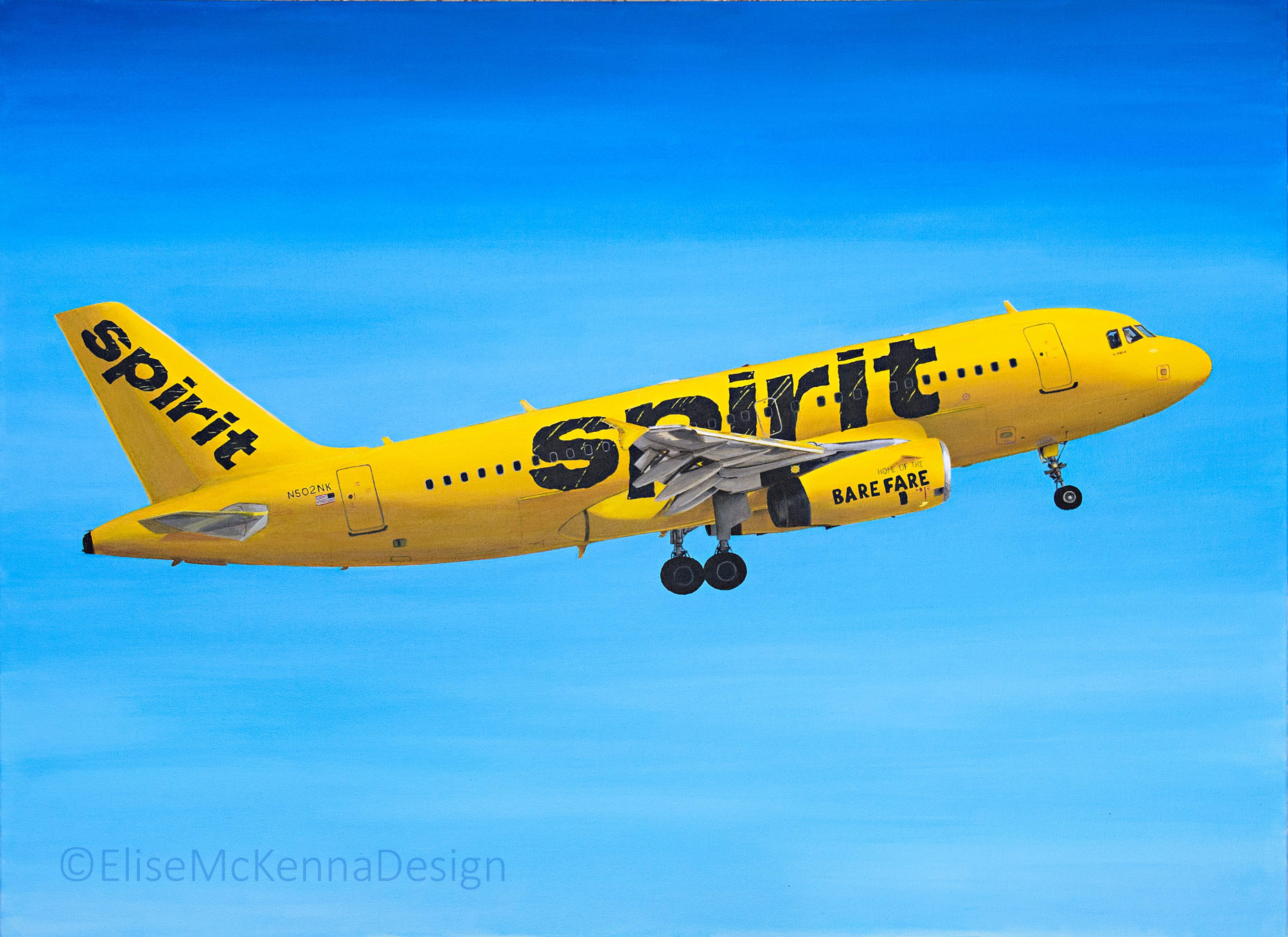 """Spirit Airlines Airbus A319; original: 20 x 30 x 1"""" (not for sale); prints available upon request"""