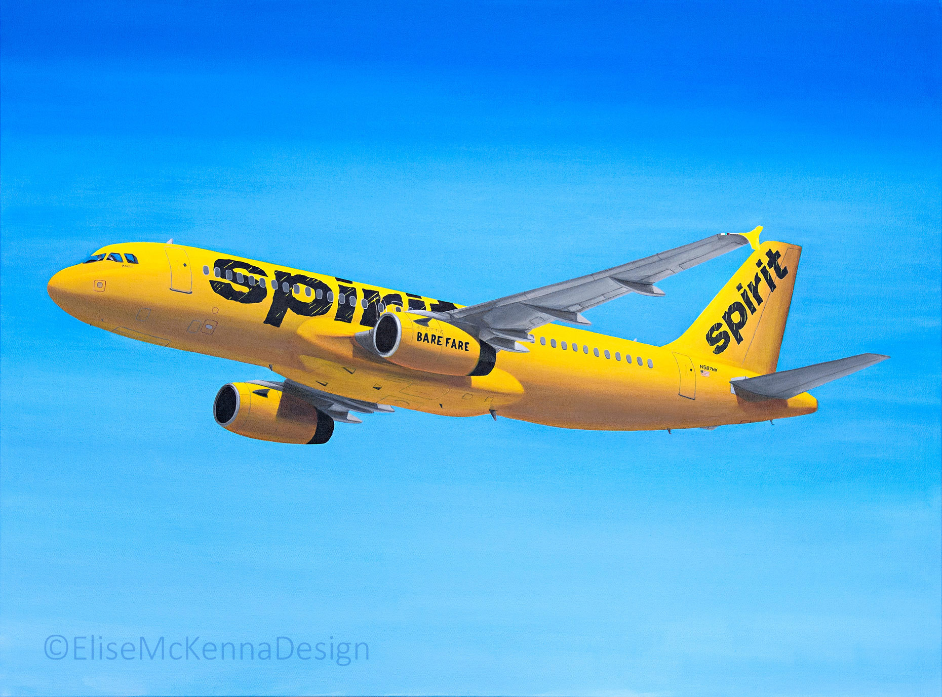 """Spirit Airlines Airbus A320; original: 20 x 30 x 1"""" (not for sale); prints available upon request"""