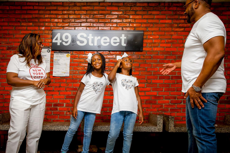 NYC subway family photo 49th street