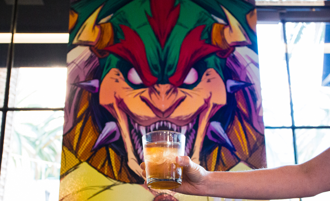 Even Bowser gets thirsty! Game tribute artwork murals by local artists.
