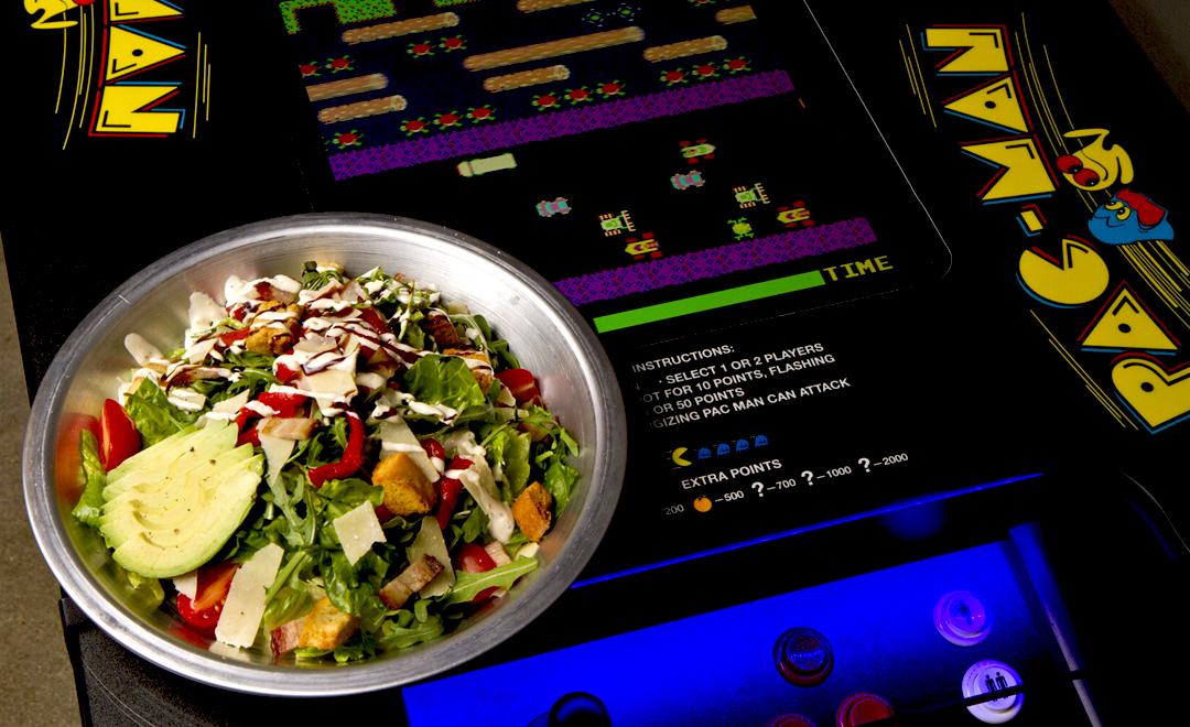"Healthy menu items are available, like this ""Tony Hawk Pro Caesar."""