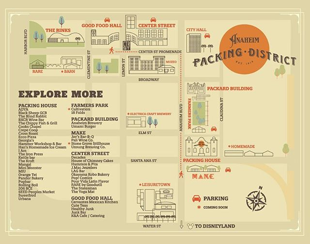 Explore more! Did you know the @packdistrict includes @centerstanaheim, the Packing House, Farmers Park, @anaheimmake, and the Packard Building? We'll be keeping you updated on all the eats and activities that are mere blocks away on @packingdistrict's instagram. We'll even show you how to use FRAN so you never have to leave your hard won parking spot. Swipe through to see all our different locations!  @centerstanaheim - A food and activity haven located two blocks down Anaheim Blvd. Host to Thursday Farmers Market and @downtownanaheim Art Crawls. W Center St. Promenade, Anaheim, CA, 92805  Packing House - Food mecca celebrating their 100 year birthday. 440 S. Anaheim Blvd, Anaheim, CA 92805  Farmers Park - Host to a farmhouse + greenhouse + one cutie pie trailer. Located across the parking lot from the Packing House. 412 S. Anaheim Blvd, Anaheim, CA 92805  Packard Building - Another historic space with eats and drinks. Located right next to Farmers Park. 336-338 S. Anaheim Blvd, Anaheim, CA 92805  @anaheimmake - Eatery and drinkeries that MAKE everything you taste from the bottom to top. Located right across Santa Ana St. from the Packing House. 500 S Anaheim Blvd, Anaheim, CA 92805