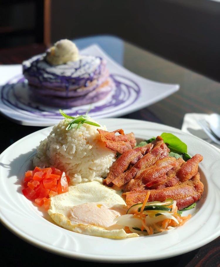 Filipino breakfast and ube pancakes!