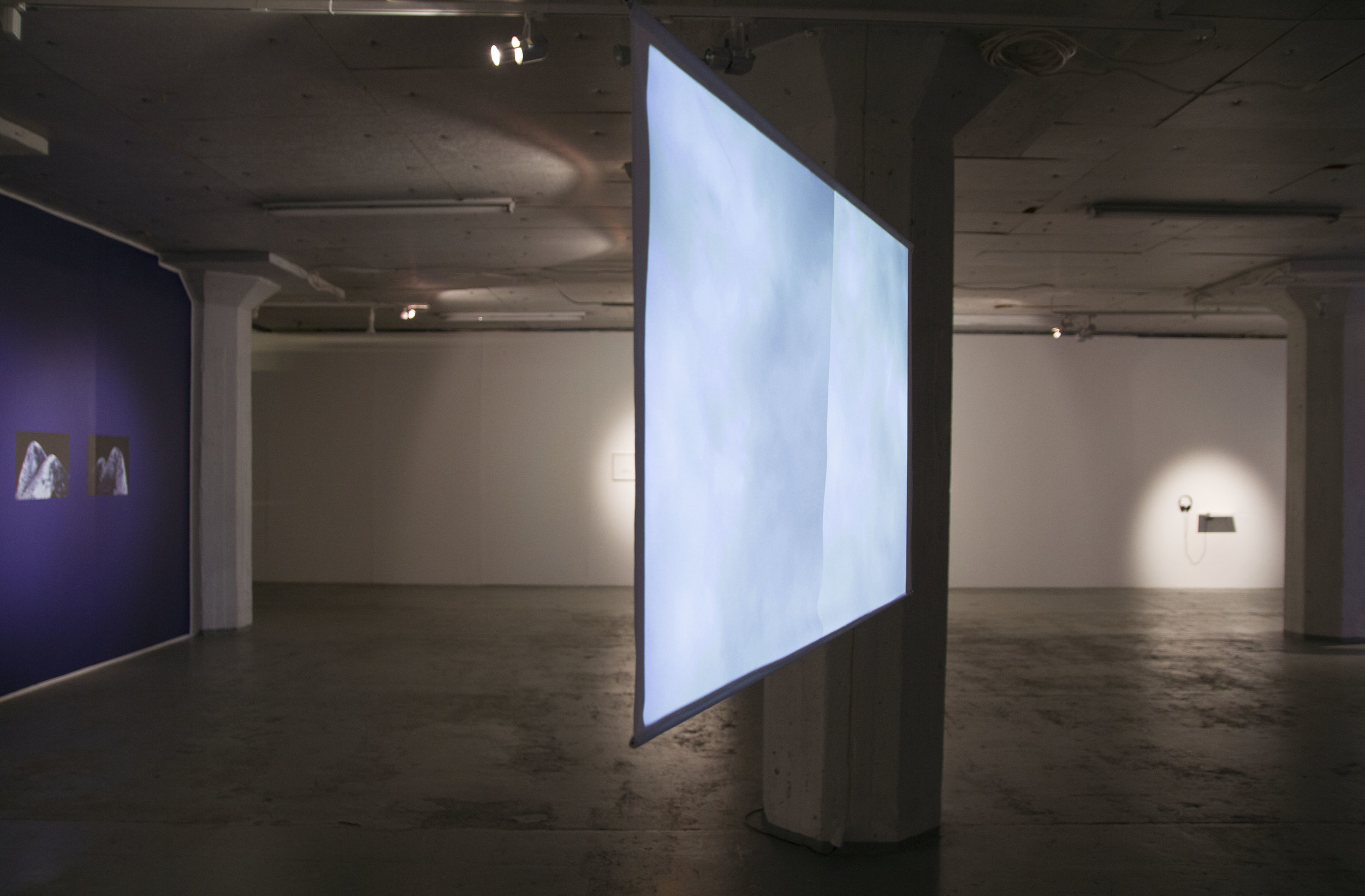 Installation view:  Sky in Two Parts , 2017, single channel video, 16:9, 6'10min, loop
