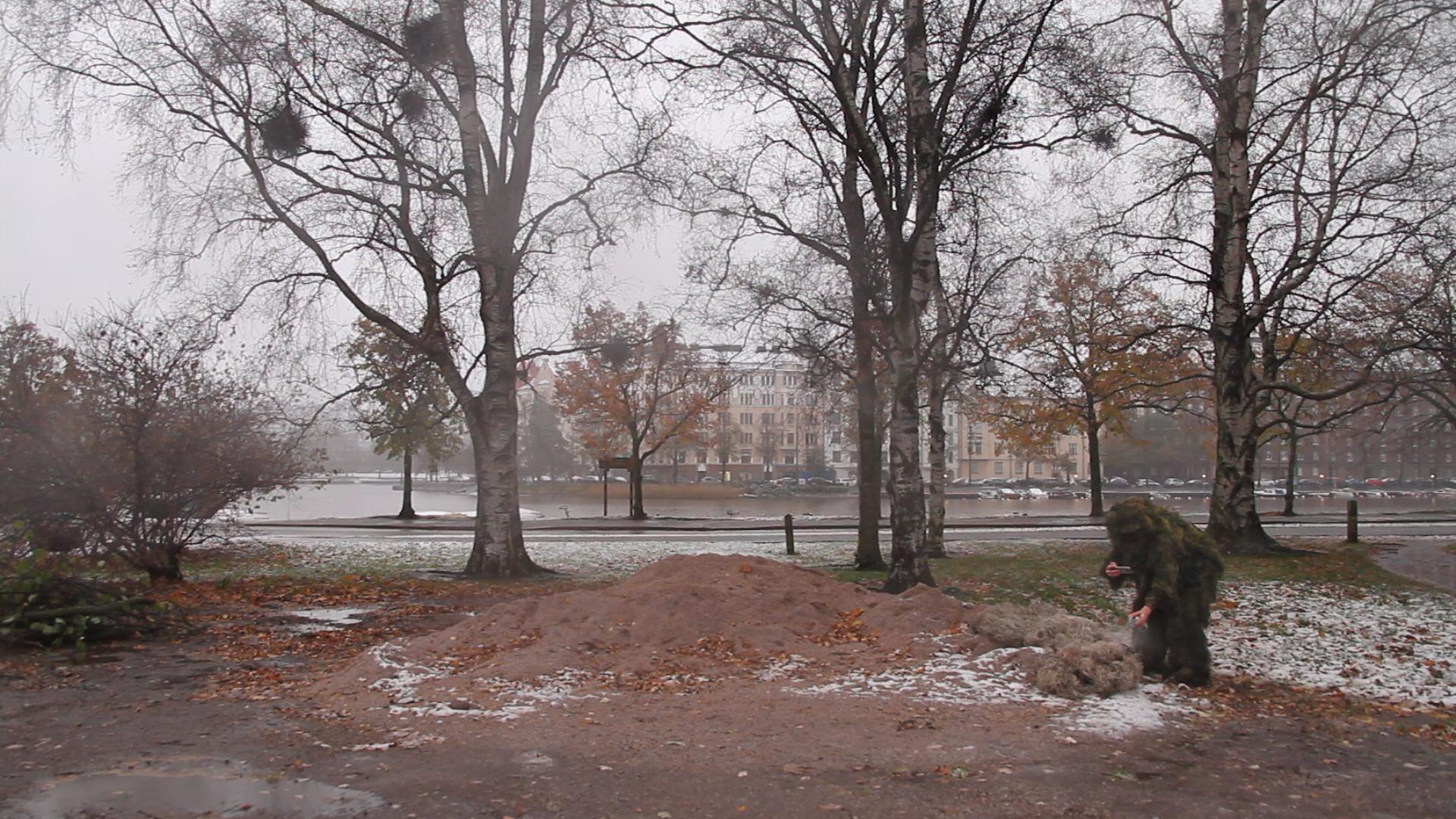 still from video documentation: public intervention in Helsinki, Finland