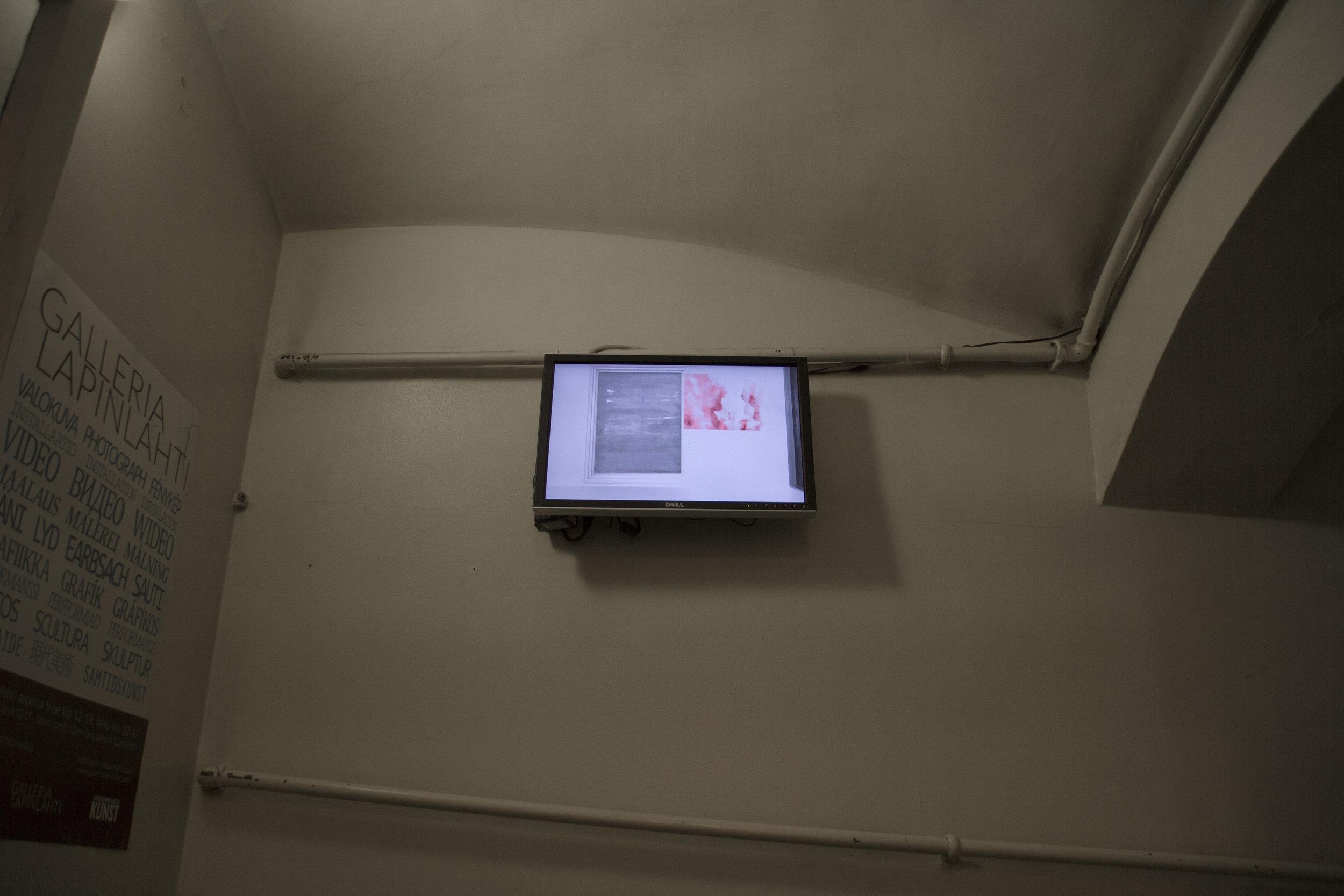 Installation view: Sara Kovamäki:  Viivana - Tässä , 2011, video and performance