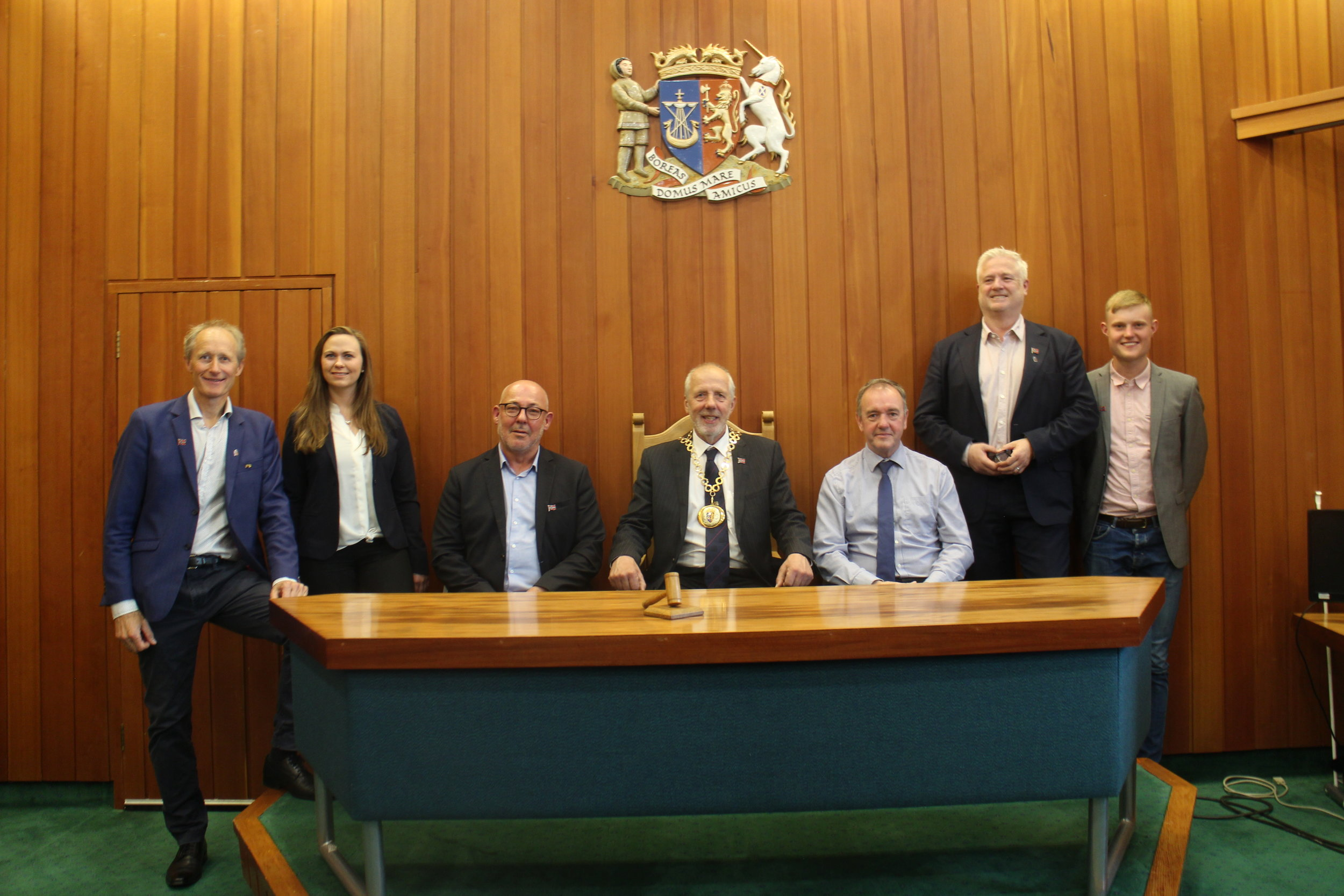Inside the Orkney Council Chambers (left to right - Trond Strømgren, Maria Brandsøy, Stein Kvalsun, Harvey Johnston, James Stockan, Owe Hagesæther, Mark Purkis) (Photo: Mikel Gonsholt)