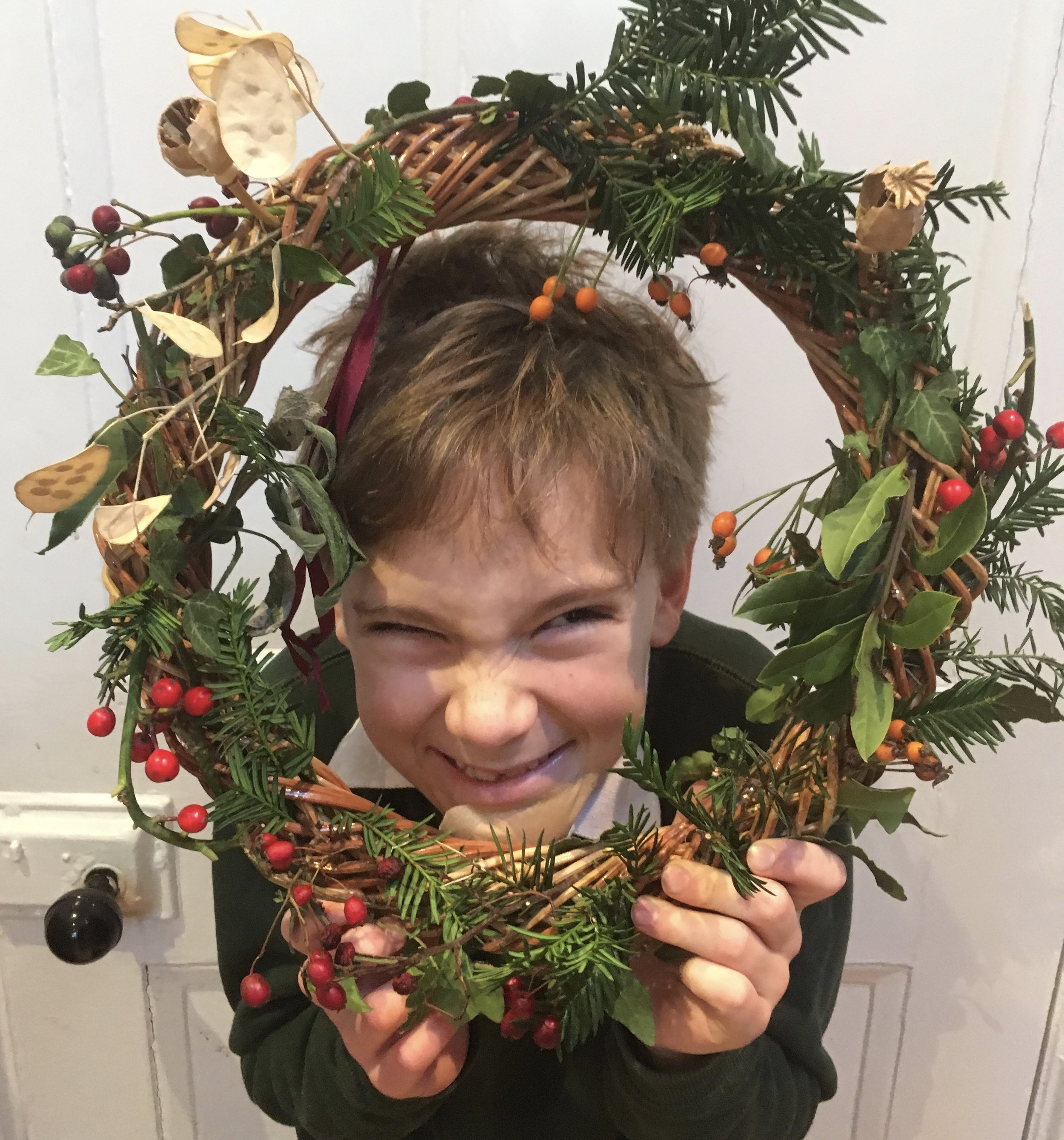 Mylo gave this wreath to his teacher to hang on their classroom door.