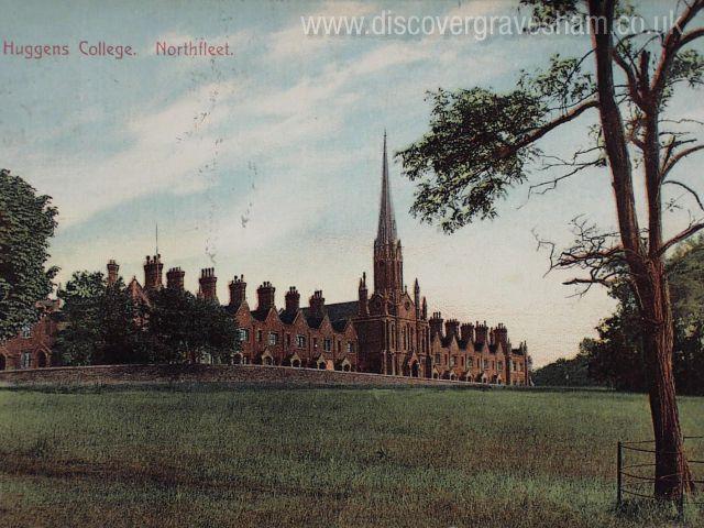 Huggins College - regular terraces of gables distinctive silhouette and distinctive feature chimneys - Douglas Grierson postcard collection, Discover Gravesham http://www.discovergravesham.co.uk/