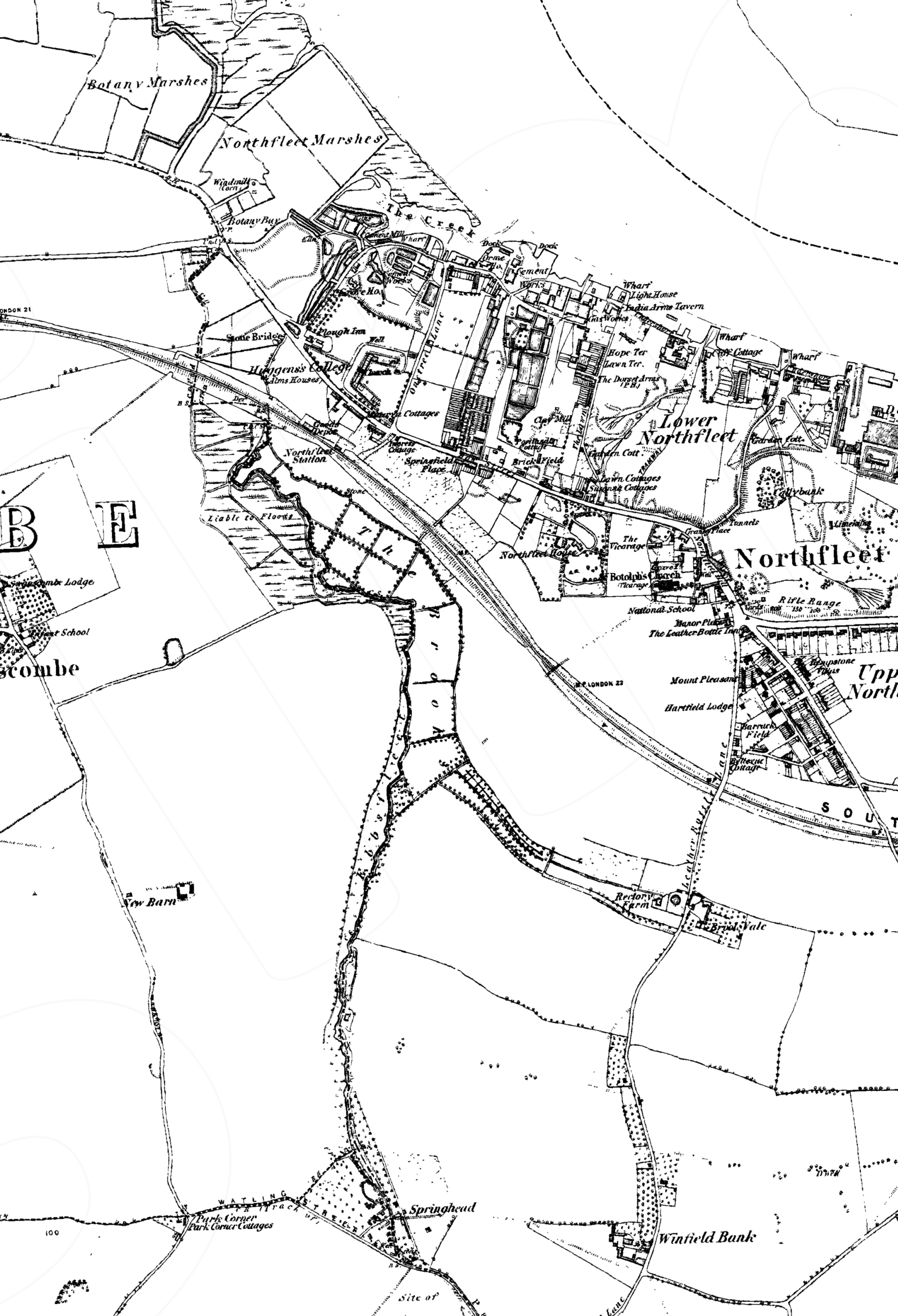 1860 map of Ebbsfleet river - © Crown copyright and Landmark Information Group Limited 2018. All rights reserved.