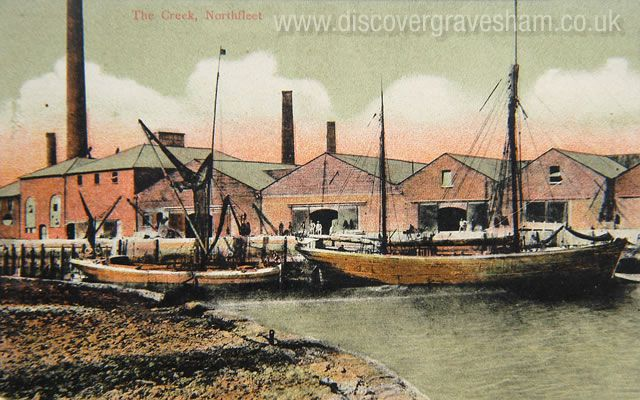 The Creek Northfleet - saw tooth roof forms, warehouses and chimneys - Tony Larkin postcard collection - Discover Gravesham http://www.discovergravesham.co.uk/postcards-of-gravesham/category/12-