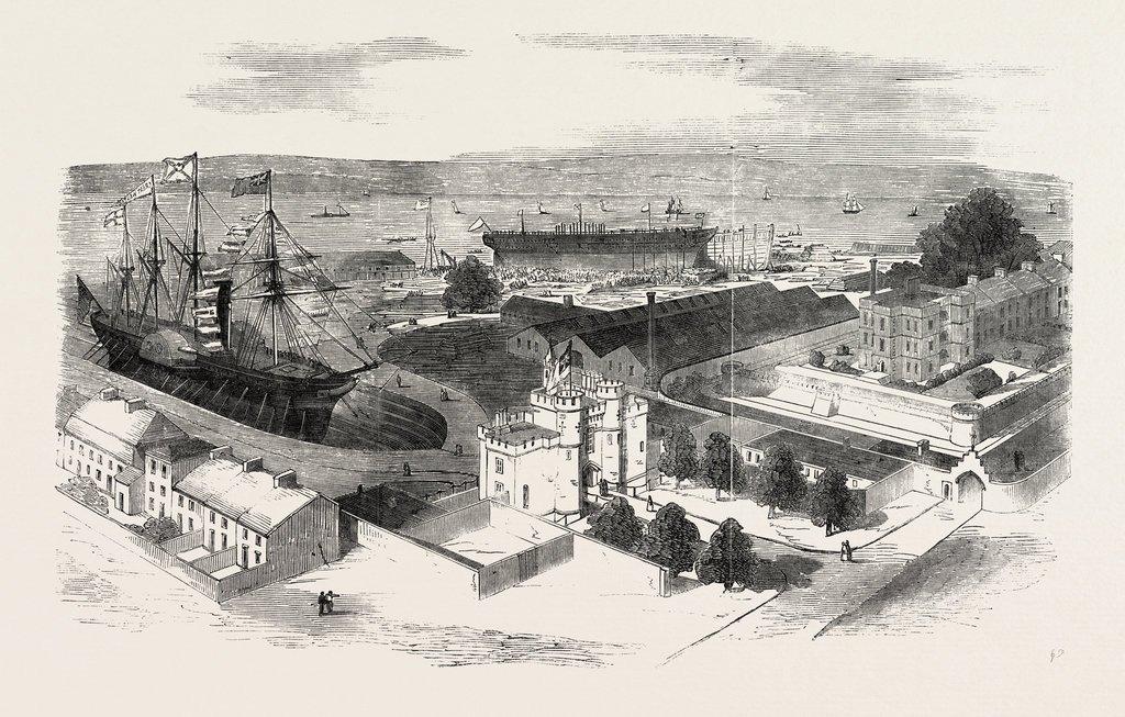 Launch of the Orinoco, West India Mail Steamer at Northfleet Dockyard, Kent, England, UK, 1851 Engraving -