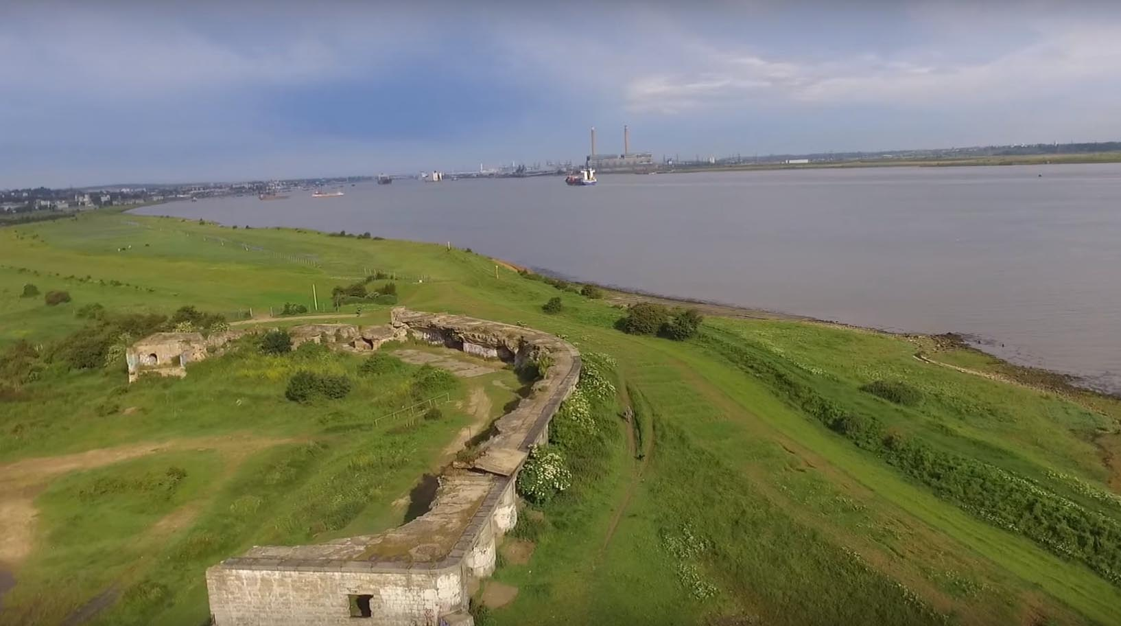 Shornemead Fort looking West back towards Gravesend and Ebbsfleet -