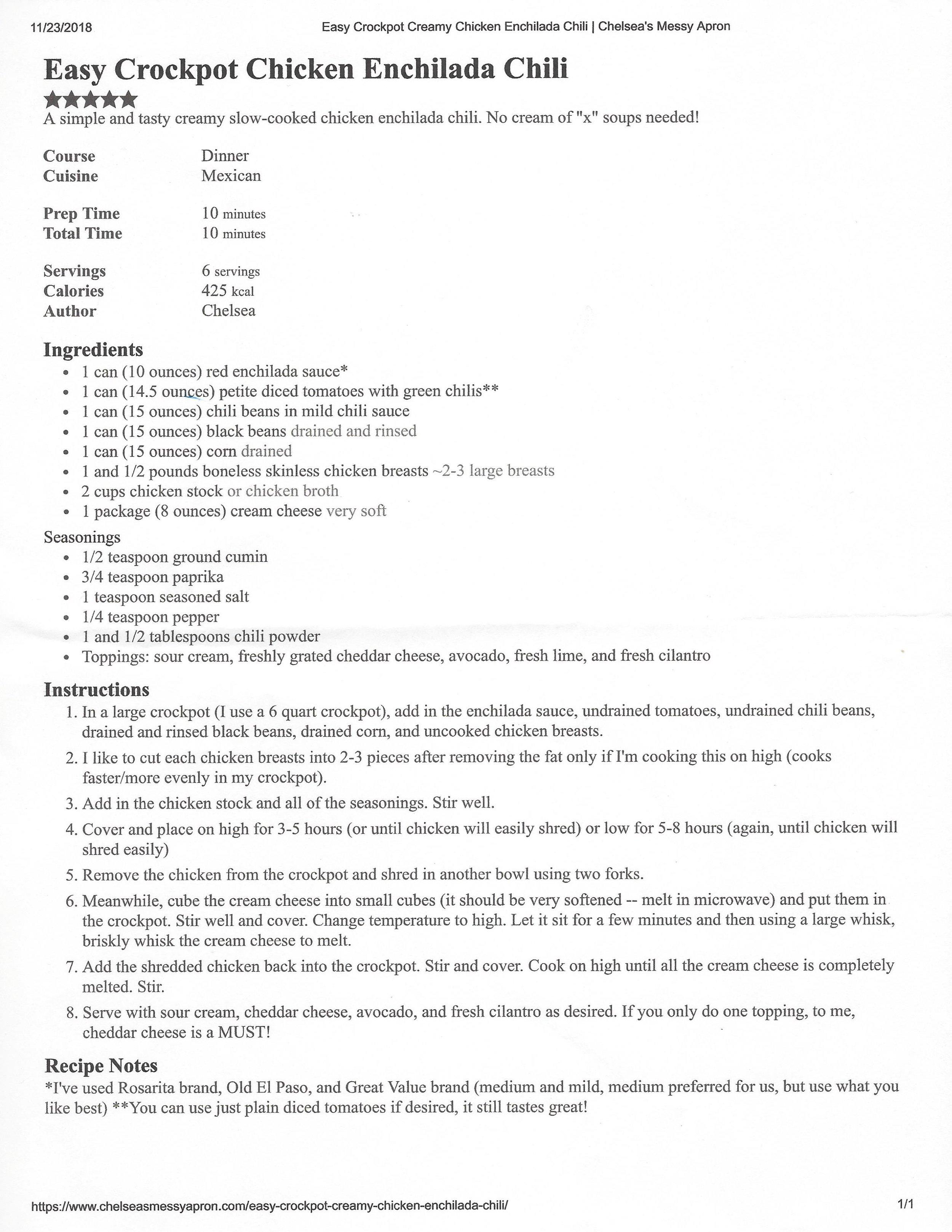 View original recipe here (chelseasmessyapron.com/easy-crockpot-creamy-chicken-enchilada-chili) >